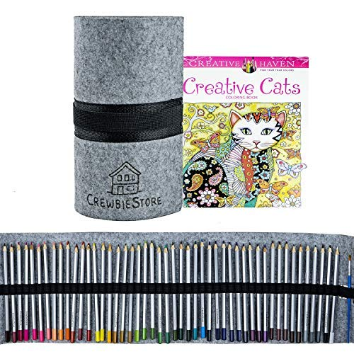 Watercolor Pencils & Cat Coloring Book & Large Pencil Case | Comes in Black Tote Bag | Use in Coloring Books for Adults Relaxation | Includes Pencil Sharpener & Paint Brush | Colored Pencils for Kids