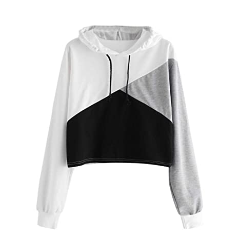 39b3b6184fe9e Women Teen Girls 2018 Fashion Crop Top Hoodie Sweatshirt Mingfa Cute ...