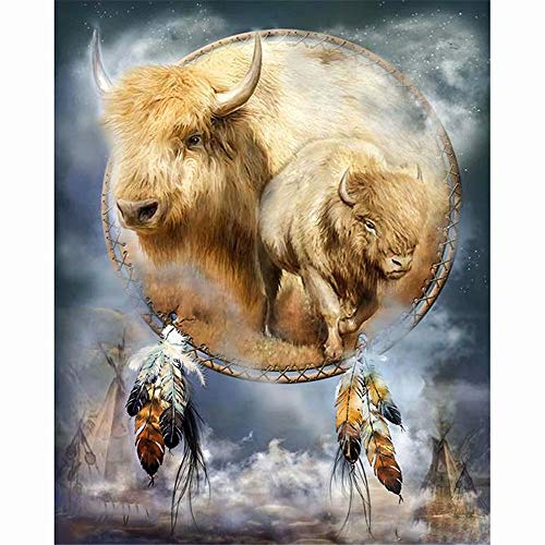 Diy Oil Painting Paint by Number Kit, Paint by Numbers Drawing with Brushes Paint, Suitable for All Skill Levels 16X20Inch,Native American Spirit Animal Buffalo
