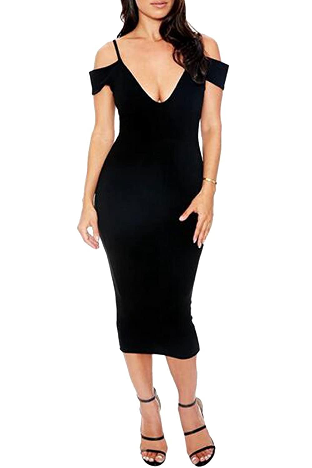 PinkWind Women's Deep V-neck off Shoulder Cut-out Slip Bodycon Prom Pencil Dress