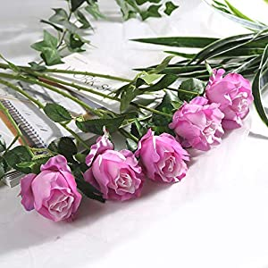 Nadalan 5Pcs Artificial Flowers Roses Fake Flowers Arrangement Bouquet for Valentine's Day Home Office Wedding Parties 65