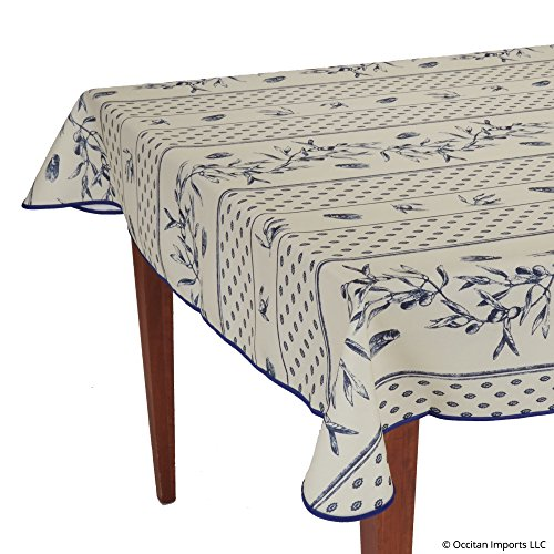 Occitan Imports Cigale Blue Rectangular Easy Care French Tablecloth, 59 x 94 (6-8 people)