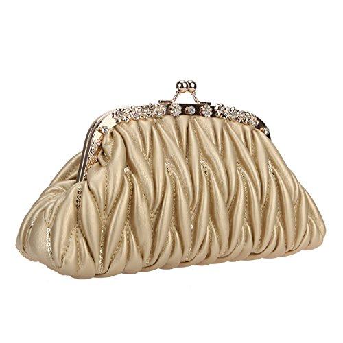 Pu Leather Kiss Bags and Women for Bonjanvye Gold Crystal Lock Sequins Purses Handbags wxXdSqI