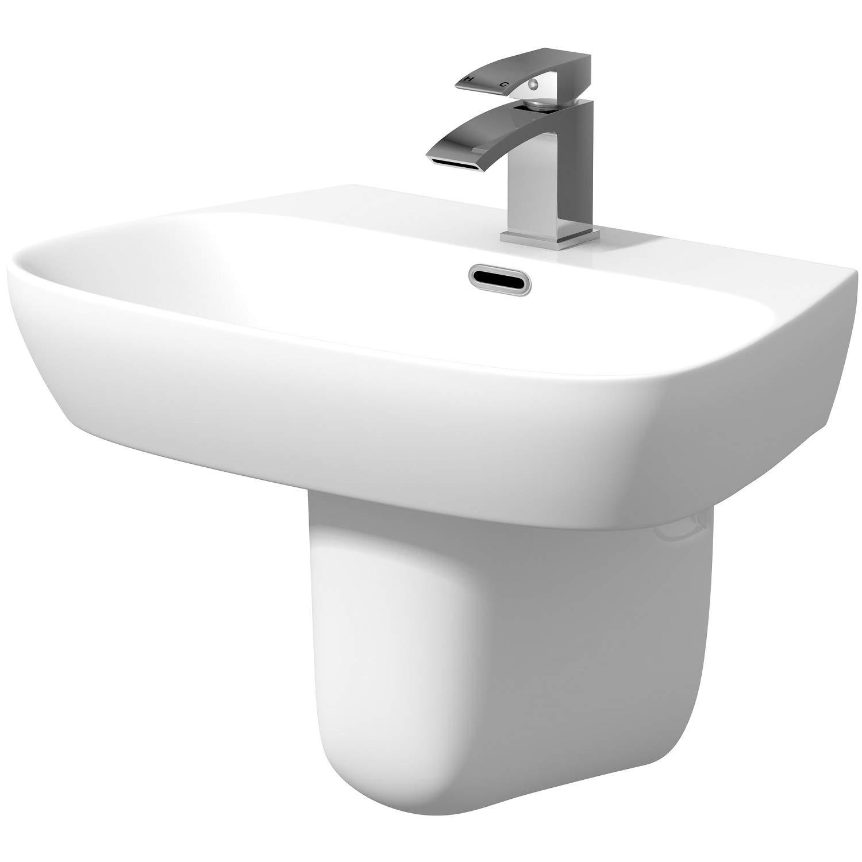 Affine Modern Bathroom Basin Sink Single Tap Hole Semi Pedestal Wall Hung White Ceramic