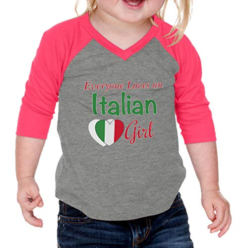 Everyone Loves an Italian Girl Cotton/Polyester 3/4 Sleeve V-Neck Boys-Girls Infant Raglan T-Shirt Baseball Jersey - Gray Hot Pink, 6 Months