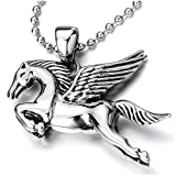 Pegasus Flying Winged Horse Pendant Necklace for Men Women Stainless Steel with 30 in Ball Chain