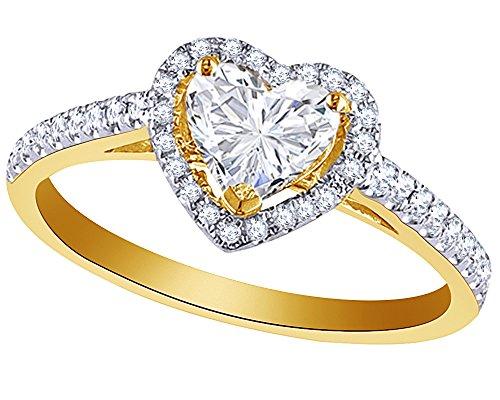 1 CT Heart Cut Diamond Heart Frame Ring in 14K Gold (14k Frame Yg)