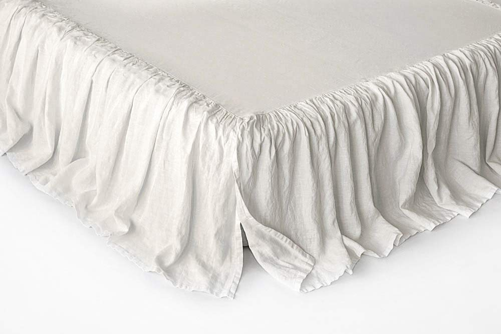 BEALINEN Linen Bed Skirt US Twin Size White Linen Color Stone Washed Softened European Linen by BEALINEN
