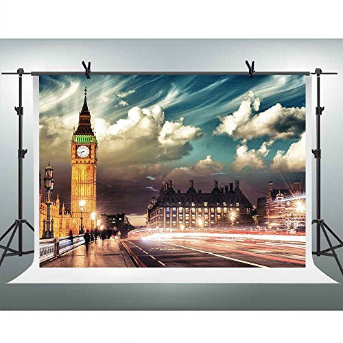 FHZON 10x7ft London Night Street Scene Photography Backdrop Elizabeth Tower Clock Tower Big Ben Background Themed Party YouTube Backdrop Photo Booth Studio Props FH1378