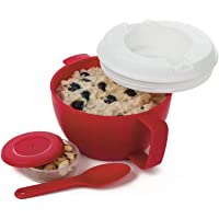 Prep Solutions by Progressive Microwave Soup On-the-Go, Red - PS-91GY Leak-Proof, Cool-Touch Handle, Spoon Inlcuded (5 Piece Set- Red)