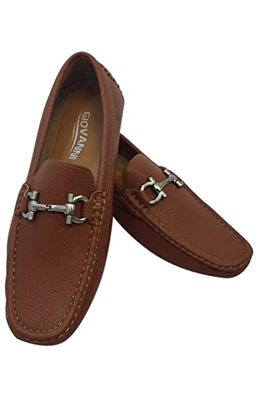 Men's Giovanni Loafer Dress Shoes Italian Style Slip On Camel Brown with Light Brown Stitch 9511