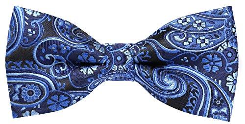 Flora&Fred Men's Designer Handmade Hendrix Paisley Bow Tie Blue