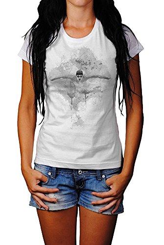 Schwimmen T-Shirt Mädchen Frauen, weiß mit Aufdruck