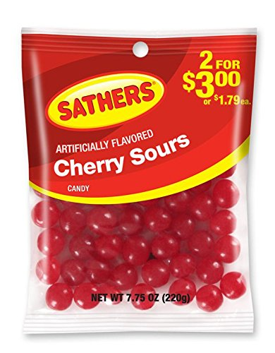 Sathers Sours Candy, Cherry, 7.75 Ounce (Pack of (Red Hot Cinnamon Discs)