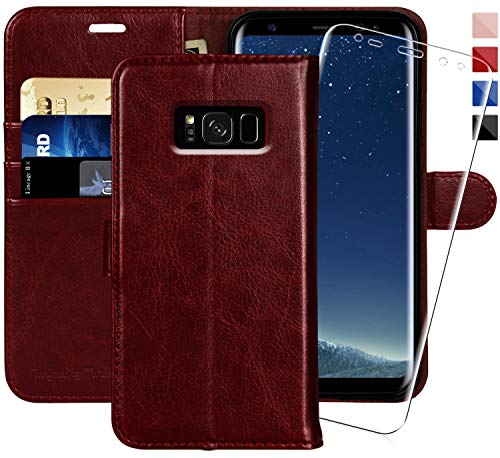 MONASAY Galaxy S8 Wallet Case, 5.8-inch, [Included Screen Protector] Flip Folio Leather Cell Phone Cover with Credit Card Holder for Samsung Galaxy S8 from MONASAY