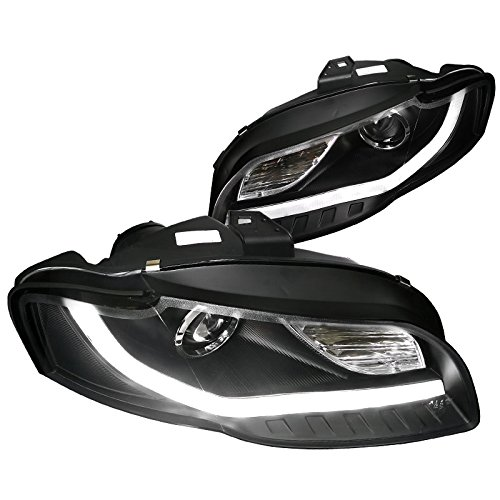 Spec-D Tuning 2LHP-A406JM-8V2-TM Audi A4 Crystal Black Projector Headlights With New BMW Style LED DRL - Audi Headlight Assembly A4