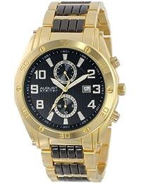 August Steiner Men's AS8070YG Swiss Multi-Function Gold-Tone Dial Black Bracelet Watch