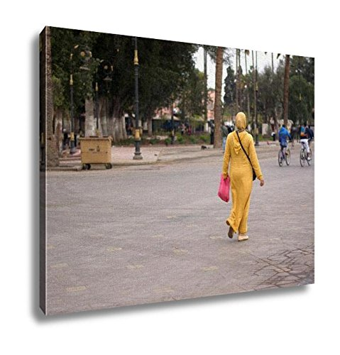 Ashley Canvas Arab Woman In Yellow Going To Work Sharm El Sheikh Typical Dress Of Muslim Women 16x20 by Ashley Canvas
