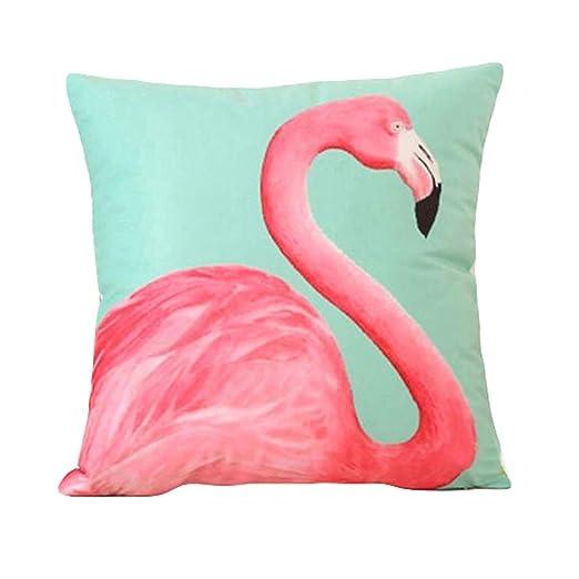 Funda de almohada Amesii, con diseño de flamenco, 46 cm, para cama o sofá, decoración del hogar