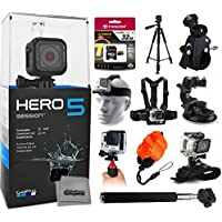 GoPro HERO5 Session CHDHS-501 with 32GB Ultra Memory + 60 Pro Series Tripod + Bike Motorcycle Clamp + Head/Chest Mount + Suction Cup + Stabilizer + Selfie Stick + Wrist Glove + Floaty Strap