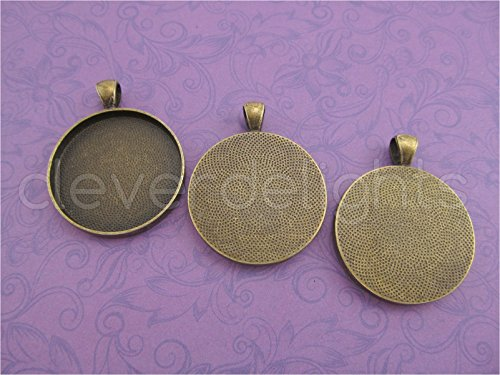 20 CleverDelights Round Pendant Trays - Antique Bronze Color - 30mm (1 3/16