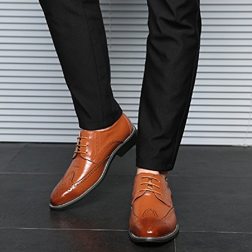 Stringate Elegante Verniciata Blu 48EU Giallo Derby Basse Pelle Marrone Sera Nero Oxford 38 Vintage Scarpe Uomo Rosso Brogue YvEnERq