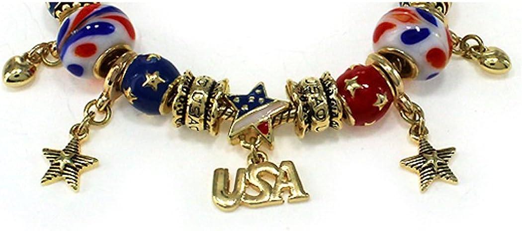 Jewelry Nexus I Love USA Theme American Flag Inspirational Bead Bracelet with Heart Lobster Claw