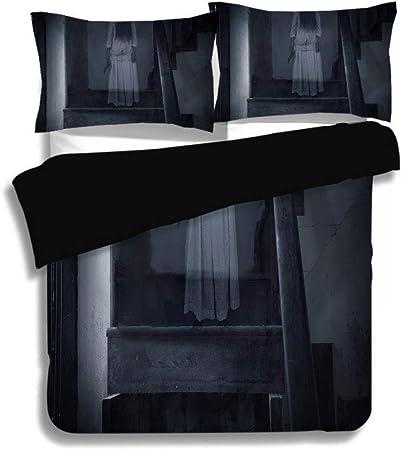 Juego de funda nórdica negra, Halloween, Horror Escenografía Figura de niña fantasma en la escalera Holding Axe Murder Violent Nightmare Decorativo, Gris blanco, Juego de sábanas decorativo de 3 pieza: Amazon.es: Hogar