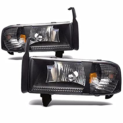 Amazon com: Black Housing Headlight Lamps 94-01 Dodge Ram