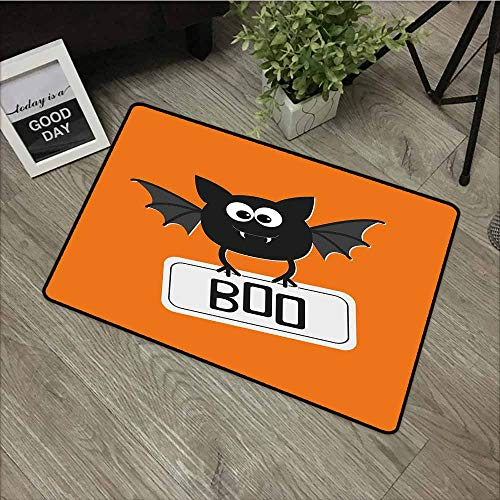 LOVEEO Rubber Doormat,Halloween Cute Funny Bat with Plate Boo Fangs Scare Frighten Seasonal Cartoon Print,Machine-Washable/Non-Slip,35