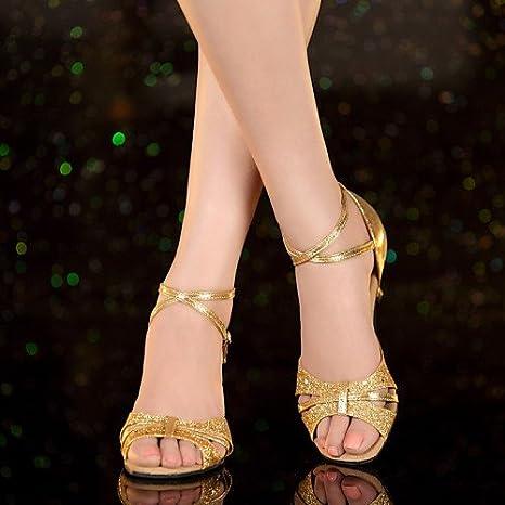 3a653725ec6 T.T-Q Chaussures de Danse pour Femme Talons Vernis en Cuir Talon cubain  Débutant Bleu  Amazon.fr  Sports et Loisirs
