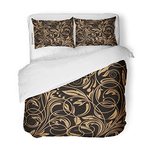 Gold Swirl Pattern - SanChic Duvet Cover Set Flower Floral Pattern Gold Swirl Black Vintage White Decorative Bedding Set with 2 Pillow Cases Full/Queen Size
