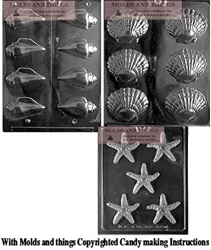Fancy Shells Chocolate Candy Mold, Starfish chocolate candy mold, SHELLS (3D) chocoolate candy mold With Copywrited Candy Making Instruction
