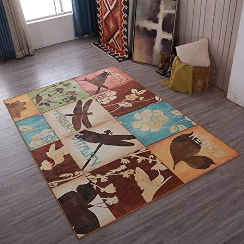 (New European Classic Retro Carpets Fashion Simple Floor Mats Absorbent Non-Slip Rugs for Living Room Bedroom)