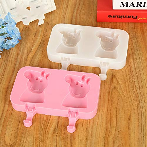 Labu Store 2 Grids Piggy Silicone Ice Cream Mold + 20pcs Sticks Ice Pops Mold DIY Mousse Cake Fondant Mould Ice Cream Maker