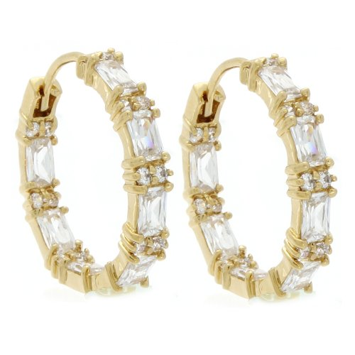 Marco Francisco 14k Gold Overlay Cubic Zirconia Emerald Cut Hoop Earrings ()