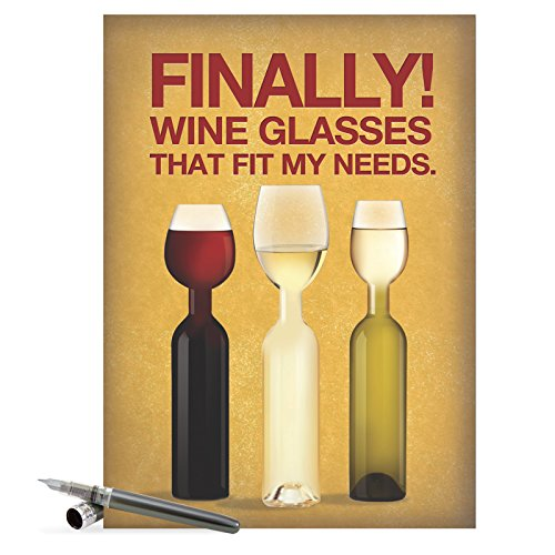 J9978 Jumbo Funny Birthday Card - 'Wine Glass Needs' with Envelope, Extra Large Size: 8.5'' x (Wine Glass Card)