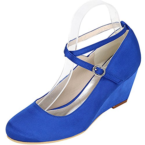 Loslandifen Mujeres Wedges Slip-on Pumps Satin Wedding Zapatos De Novia Azul
