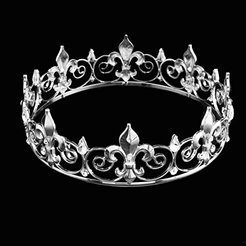 (FUMUD Vintage Full Circle Gold Prom Accessories King quen Rhinestone Crown Round Crown Wedding Hair Accessories Tiara Headpiece Jewelry)