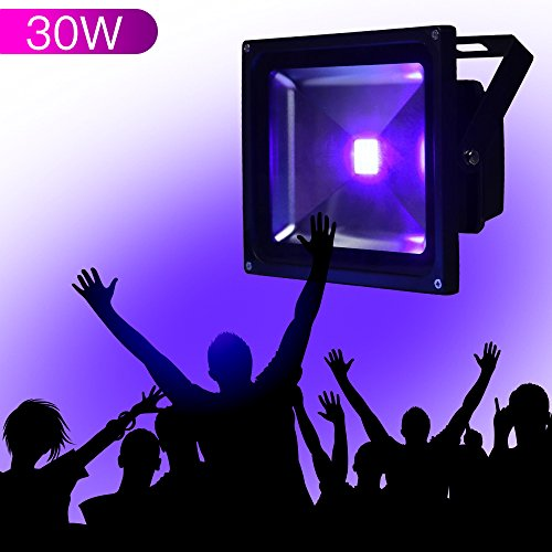 Black Aluminum Power Supply - YQL Outdoor Blacklight,High Power 30W UV LED Flood Light IP65 Waterproof Black Lights for Parties Neon Glow Party DJ Disco Night Clubs Glow in the Dark Party Supplies,Fishing, Aquarium, Curing, Bar