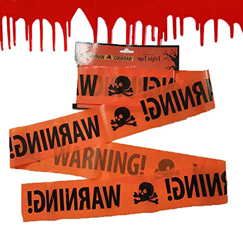 Gbell Halloween Warning Signs Party Supplies- Trendy Plastic Warning Tape Ornament for Decor Window Wall Prop Decoration (Orange)
