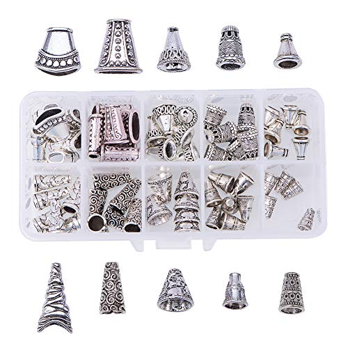 PandaHall Elite 60 Pcs Tibetan Style Alloy Flower Bead Caps Spacers 10 Styles for Jewelry Making Antique Silver