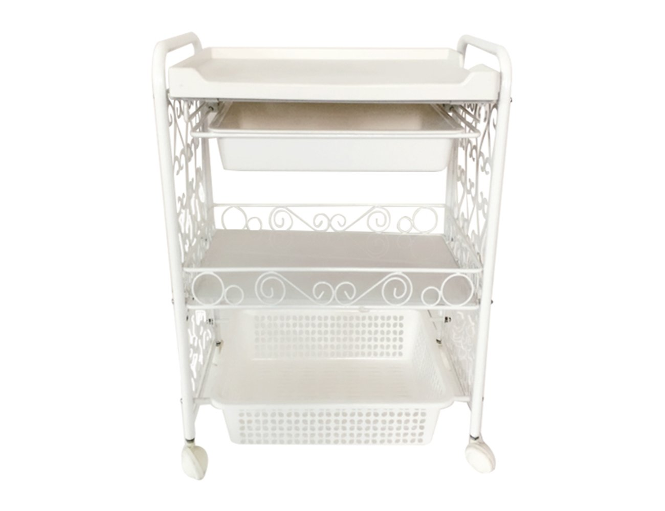 Stainless Steel Beauty Salon Rolling Trolley Storage Organizer White Cart 3 Tier With 2 Drawers Elitzia ETST20