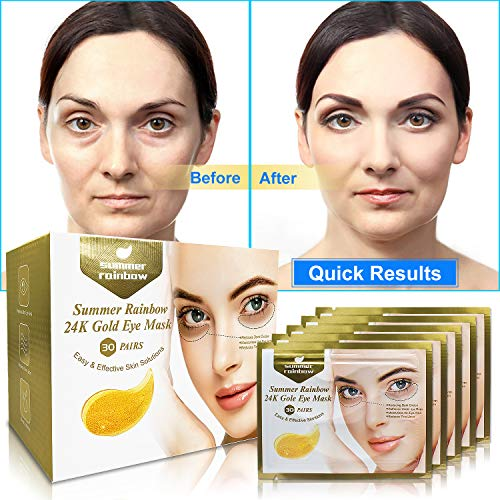 51JG7yxz wL - 30 Pairs under eye patches, Summer Rainbow eye mask, Under Eye Bags Treatment, Dark Circles Under Eye Treatment, 24K Gold Eye Treatment Masks Anti-Aging for Reducing Dark Circles Puffiness Wrinkles.