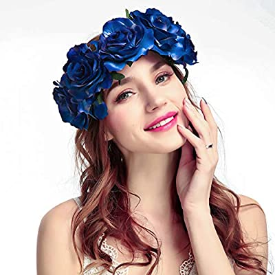 Vividsun Day of The Dead Flower Crown Rose Floral Crown Halloween Party Costume
