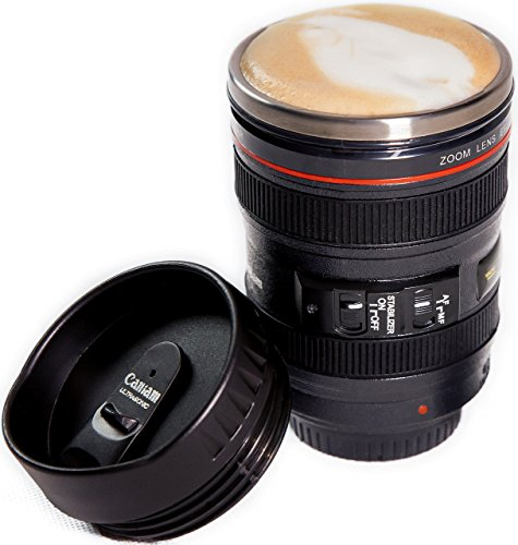 Camera Lens Coffee Mug, Best Photographer Gift, Ideal for Travel, Authentic Replica of the Canon 24-105mm Lens (Mug Only)]()