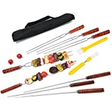 Monbix SK-70710 1/4 Inch Flat & U-Shaped Stainless Steel Kabob Skewers Each has 4Pcs, 16.5 Inch BBQ Skewers with Wooden Handle, Comes with Multi-Function Basting Brushes and Handy Storage Pouch