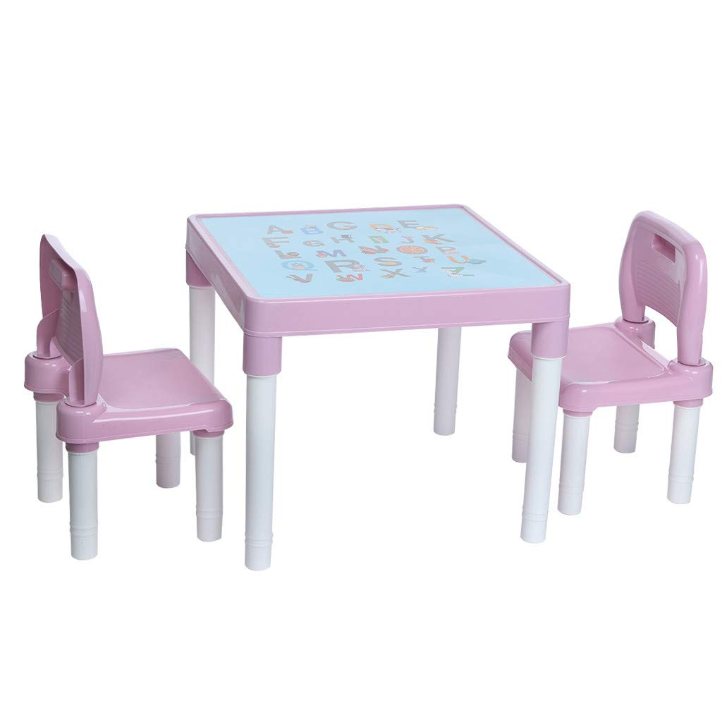 Wesracia Kids Table and Chairs Set - US Made - Toddler Activity Sturdy Plastic Desk for Lego, Reading, Play (2 Seats & 1 Table) (Pink) by Wesracia (Image #1)
