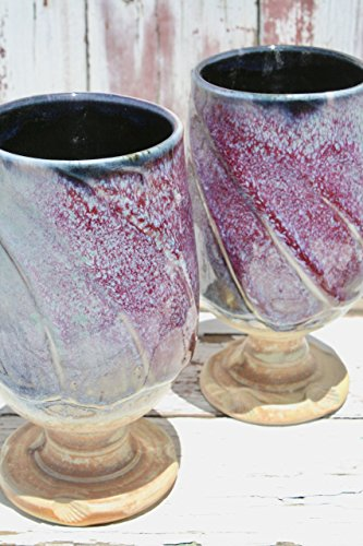 One Wheel Thrown Green to Red Violet Wine Glass, WGB #17, Ceramic Wine Glasses, Ceramic Wine Chalices, Handmade Wine Goblets