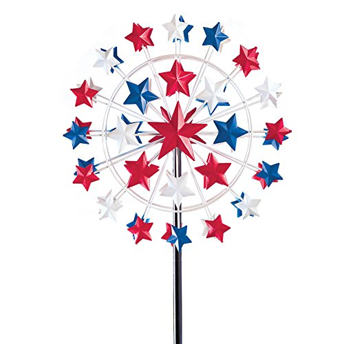 Collections Etc 5 Ft Tall Patriotic Star Garden Wind Spinner by Collections Etc